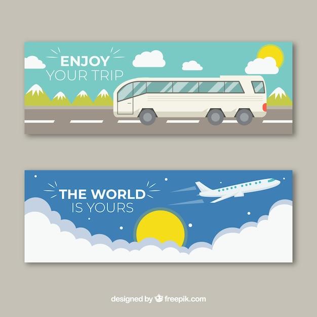 Banners de viagens com mão desenhada transporta Vetor grátis