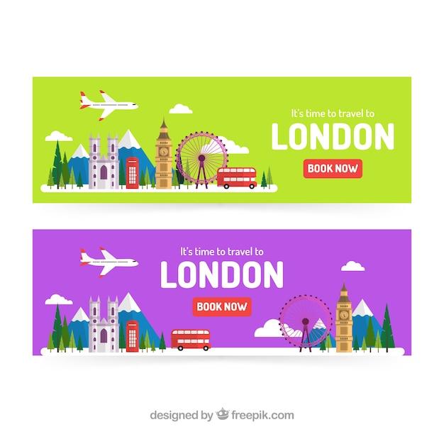 Banners de viagens de londres com design plano Vetor grátis