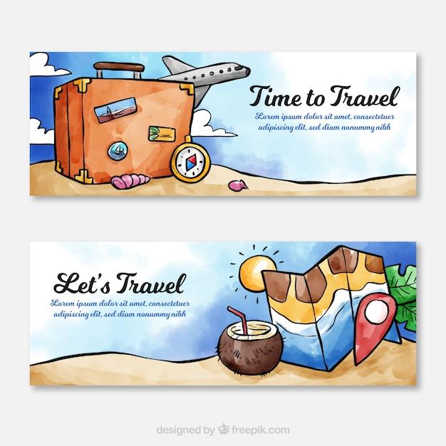 Banners de viagens em estilo aquarela Vetor grátis