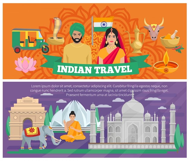 Banners de viagens indianos Vetor grátis