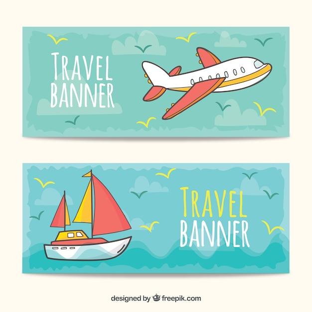 Banners de viagens na mão desenhada estilo Vetor grátis
