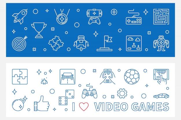 Banners de videogame Vetor Premium