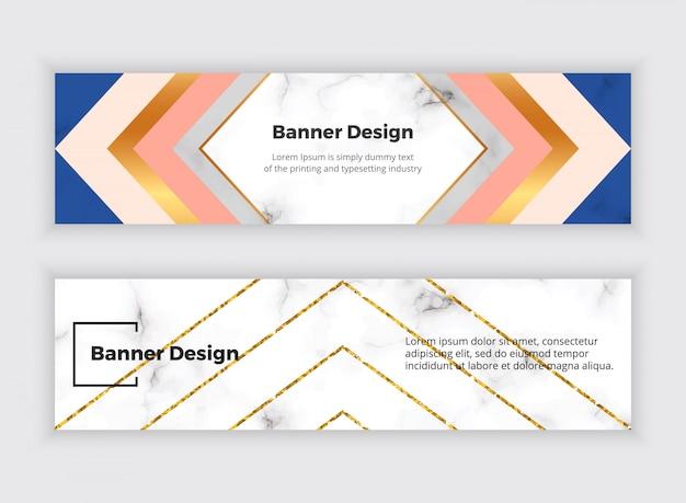 Banners de web de mídia social geométrica com triângulos, textura de mármore e linhas de glitter dourado. Vetor Premium