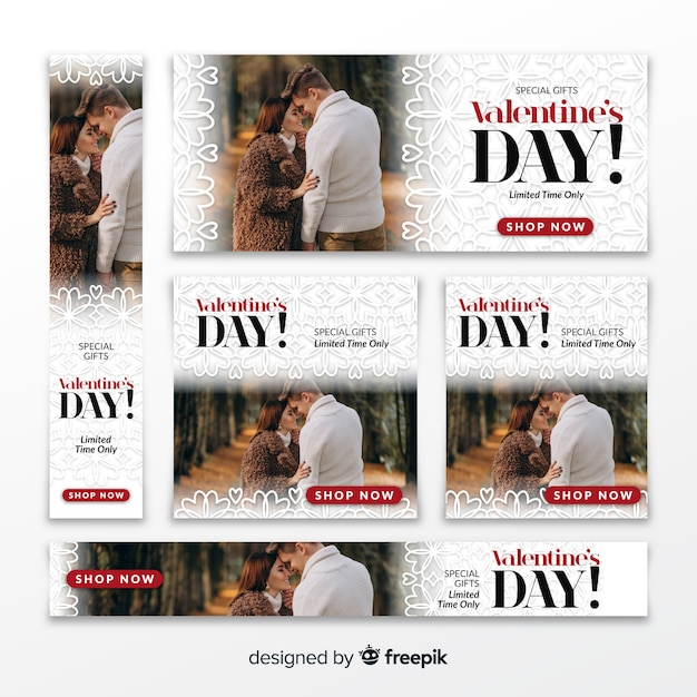 Banners de web de venda de dia dos namorados Vetor grátis