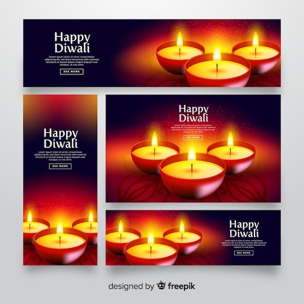 Banners de web realista diwali com velas Vetor grátis
