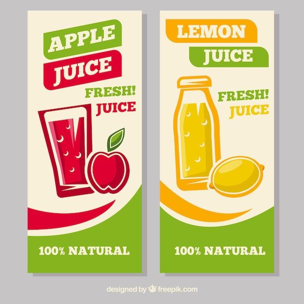 Banners decorativos com sumos de limão e maçã em design plano Vetor grátis