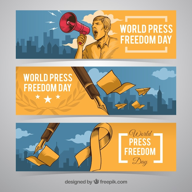Banners dia liberdade de imprensa Vetor grátis