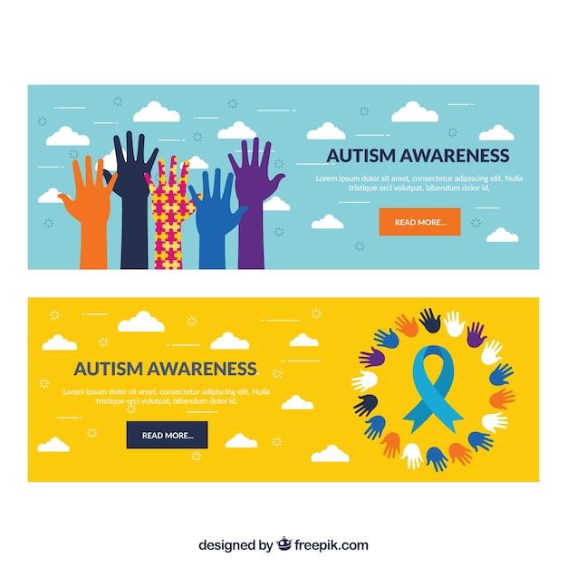 Banners dia mão autismo colorido Vetor Premium