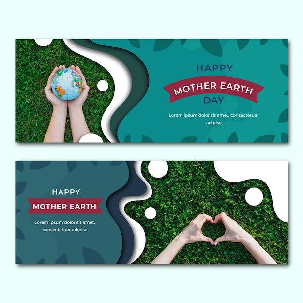 Banners do dia da mãe terra Vetor grátis