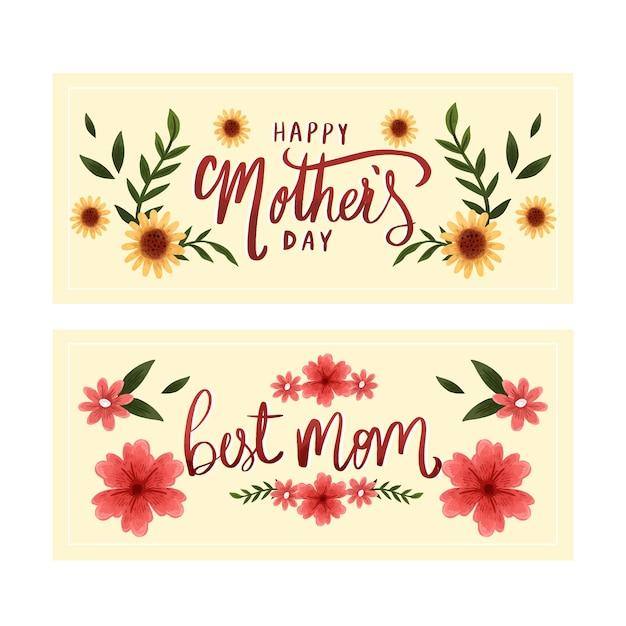Banners do dia das mães em aquarela Vetor grátis