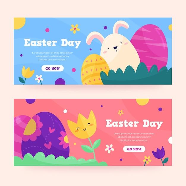 Banners do dia de páscoa em design plano Vetor grátis