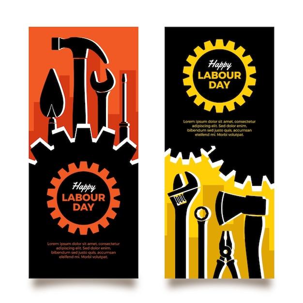 Banners do dia do trabalho em design plano Vetor grátis