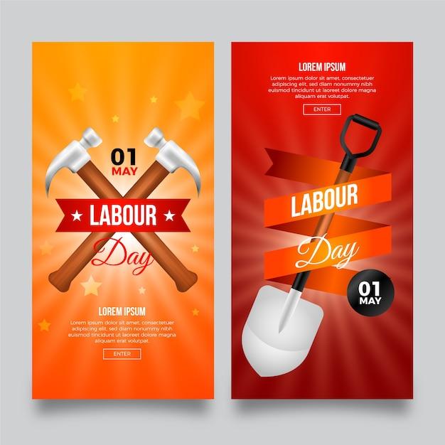 Banners do dia do trabalho realista Vetor grátis