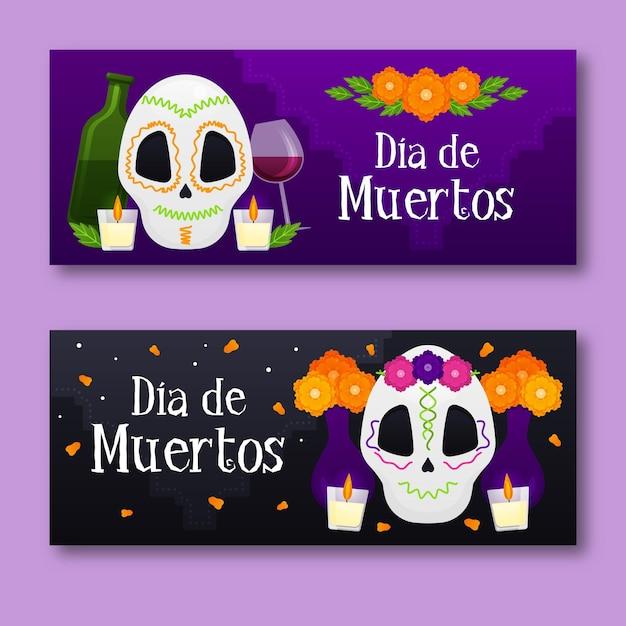 Banners do dia dos mortos com crânios fofos Vetor grátis