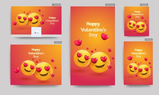 Banners do dia dos namorados, Vetor Premium