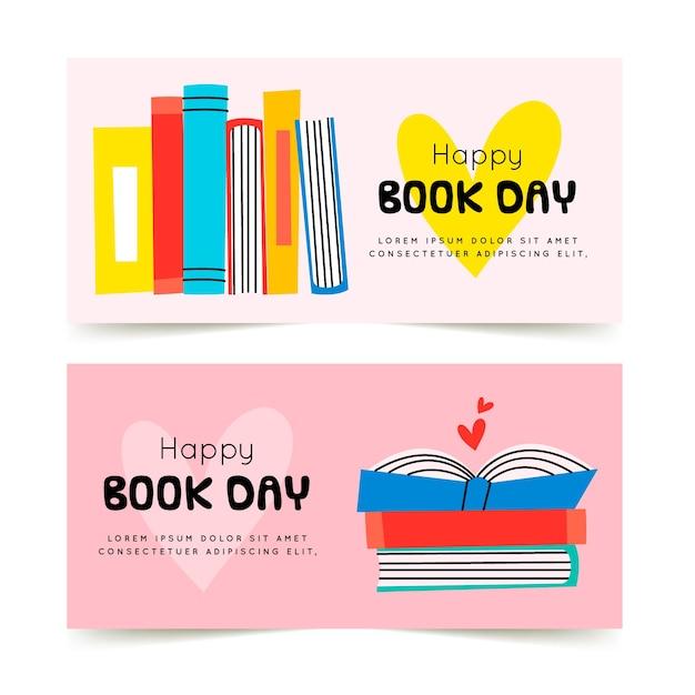 Banners do dia mundial do livro desenhados à mão Vetor grátis