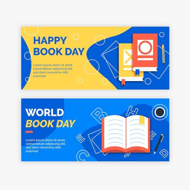 Banners do dia mundial do livro em design plano Vetor grátis