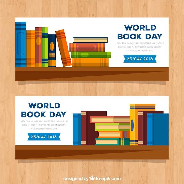 Banners do dia mundial do livro em estilo simples Vetor Premium
