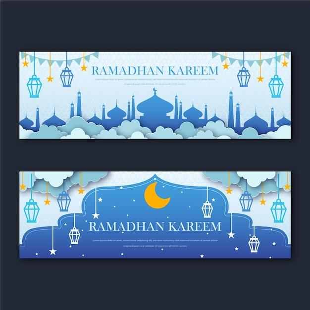 Banners do ramadã plana Vetor Premium