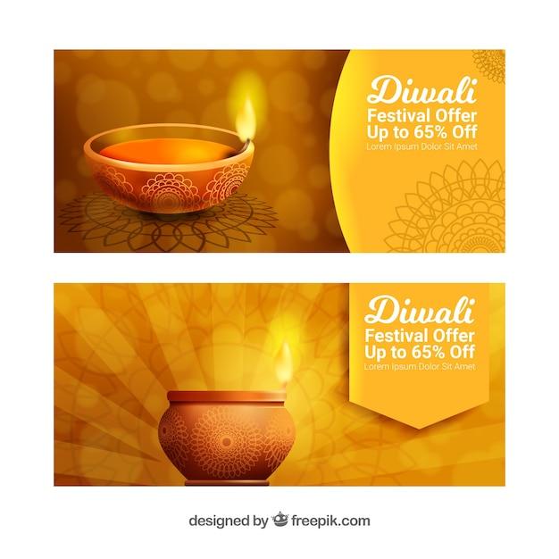 Banners dourados de diwali Vetor grátis