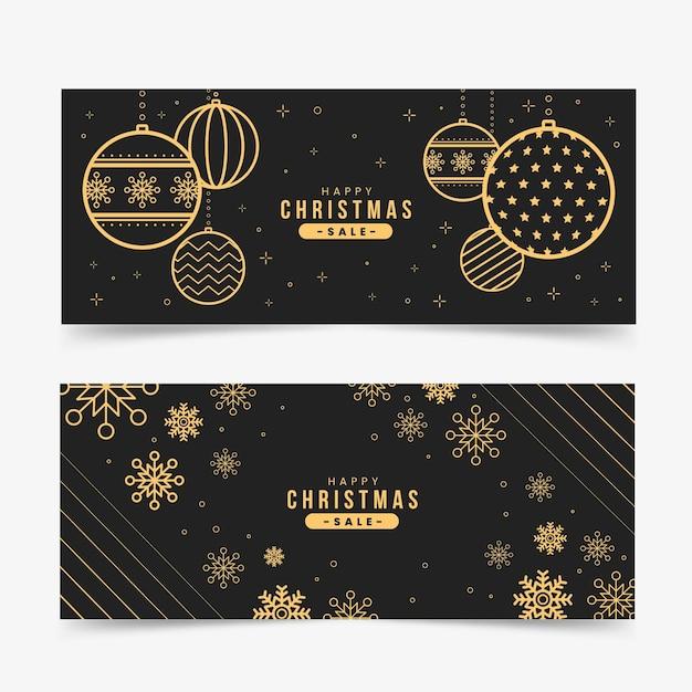 Banners dourados de venda de natal Vetor grátis