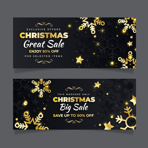 Banners dourados de venda de natal Vetor Premium