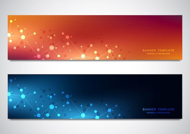 Banners e cabeçalhos de site com fundo de moléculas e rede neural Vetor Premium