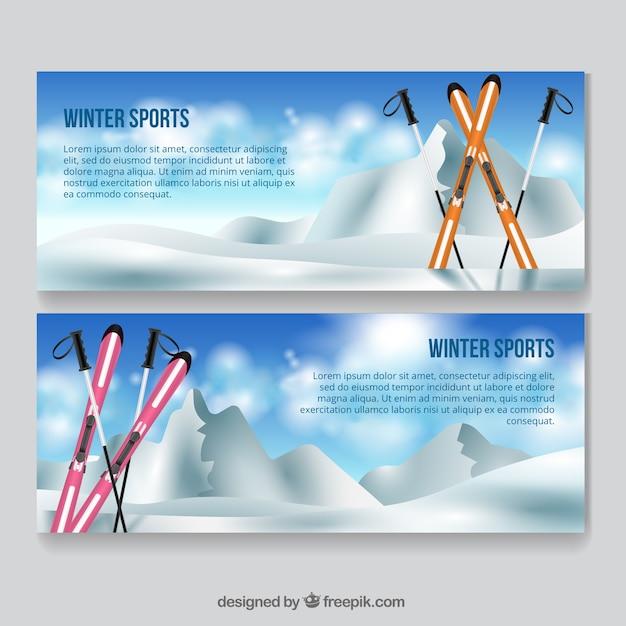 Banners é paisagem de neve com esquis Vetor grátis