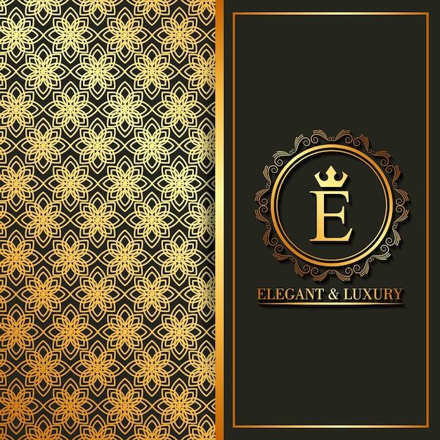 Banners elegantes e luxuosos de flores de monograma dourado Vetor Premium