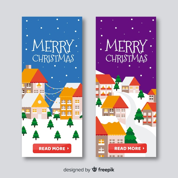 Banners em design plano com cidade natal Vetor grátis
