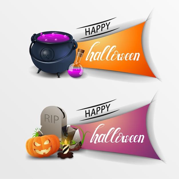 Banners feliz dia das bruxas Vetor Premium