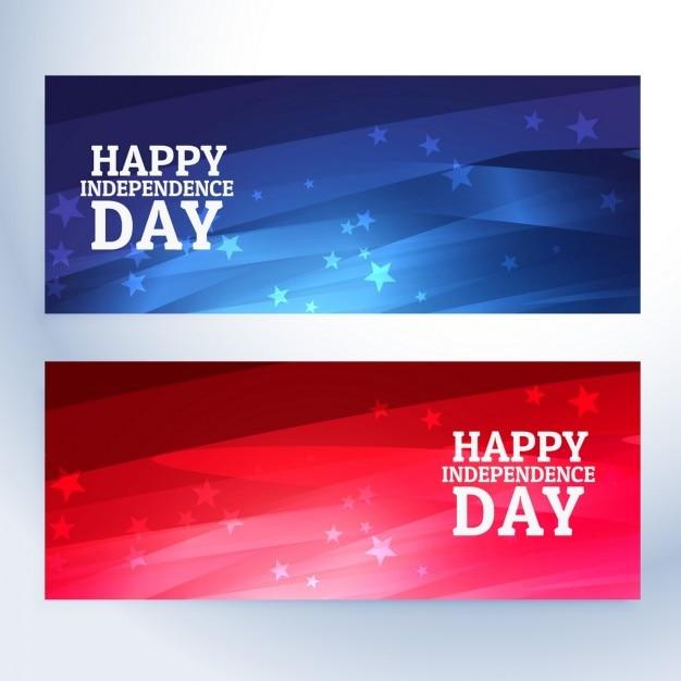 Banners feliz do dia da independência Vetor grátis