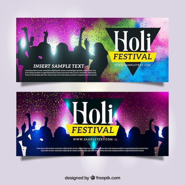 Banners festival de holi com silhuetas de dança Vetor grátis