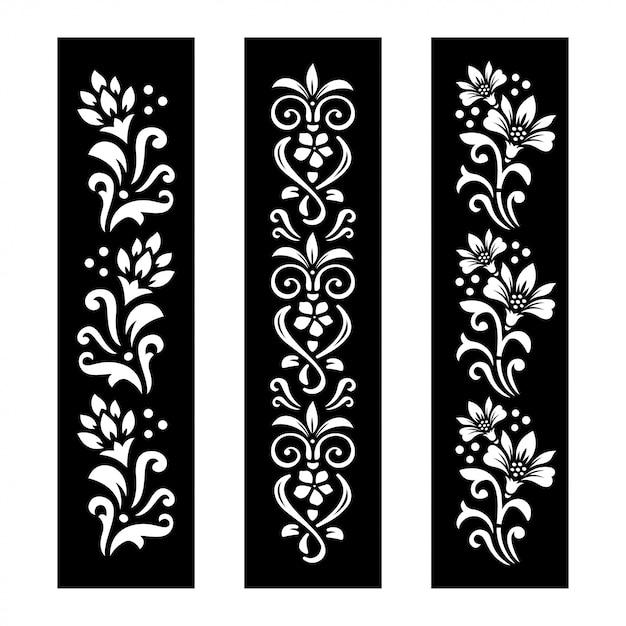 Banners florais preto e brancos Vetor Premium