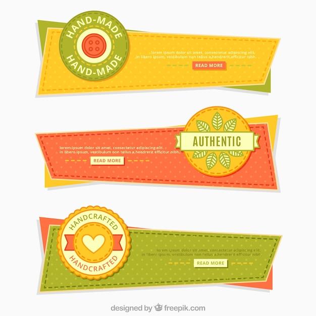 Banners geométricas de artesanato do vintage Vetor grátis
