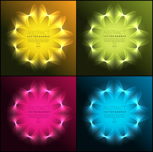 Banners geométricos de néon. isolado no painel escuro. Vetor Premium