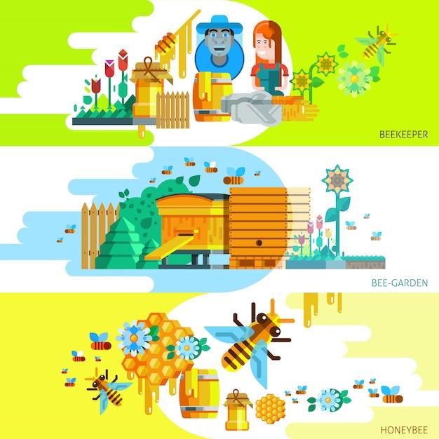 Banners horizontais coloridos de apicultura Vetor grátis