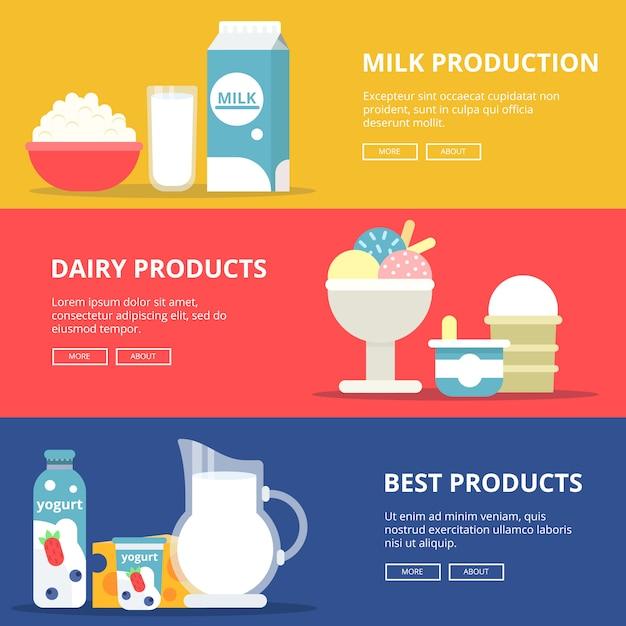 Banners horizontais com fotos de produtos lácteos leiteiros. Vetor Premium