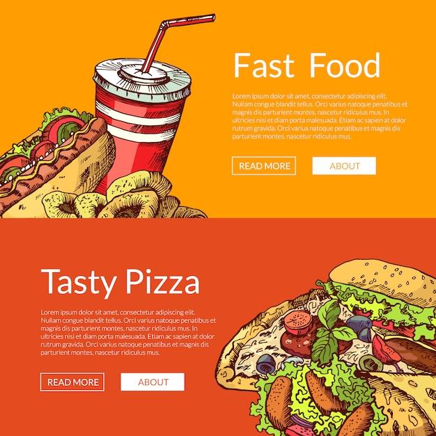 Banners horizontais com mão desenhada coloridos elementos de fast food Vetor Premium