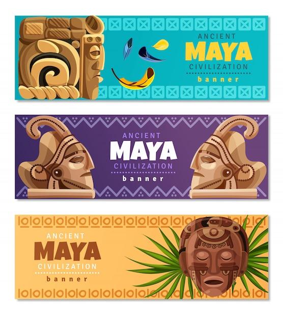 Banners horizontais da civilização maia Vetor grátis