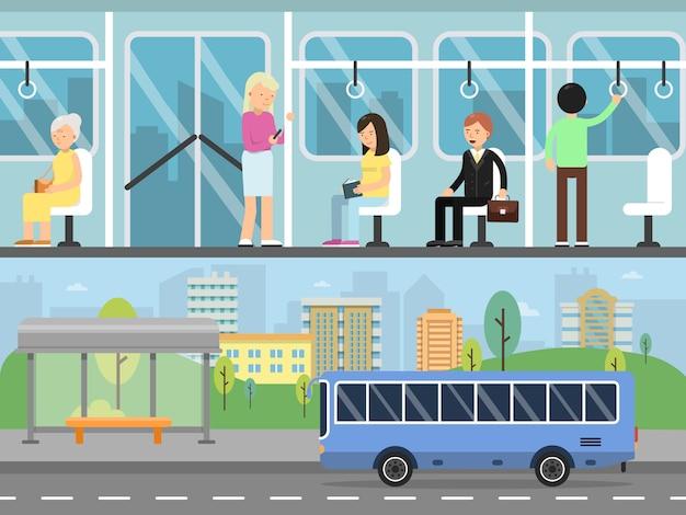 Banners horizontais da paisagem urbana com transporte e interior de ônibus com passageiros Vetor Premium