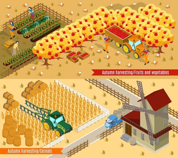 Banners horizontais de agricultura isométrica Vetor grátis
