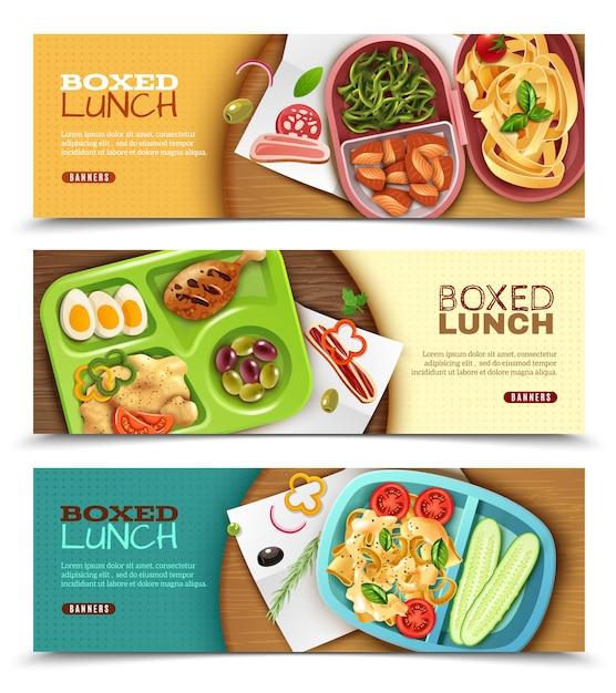 Banners horizontais de almoço em caixa Vetor grátis