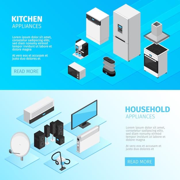 Banners horizontais de aparelhos domésticos com equipamentos de cozinha e dispositivos digitais e eletrônicos Vetor grátis