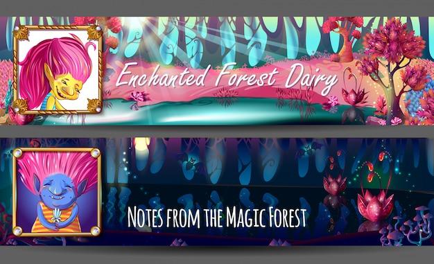 Banners horizontais de avatares de personagens trolls Vetor grátis