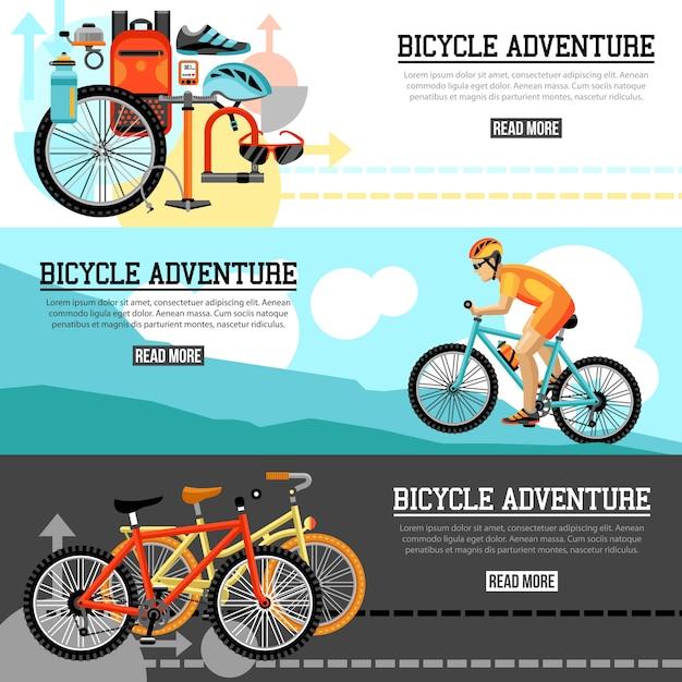 Banners horizontais de aventura de ciclismo Vetor grátis