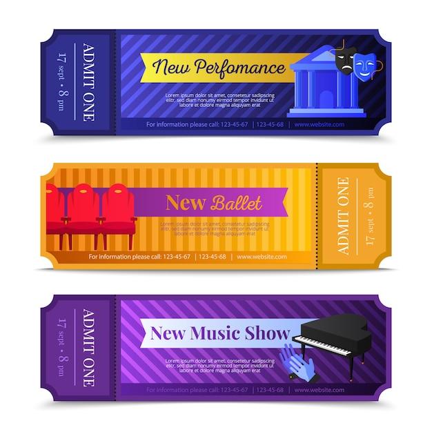 Banners horizontais de bilhetes de teatro com balé e música mostram símbolos Vetor grátis