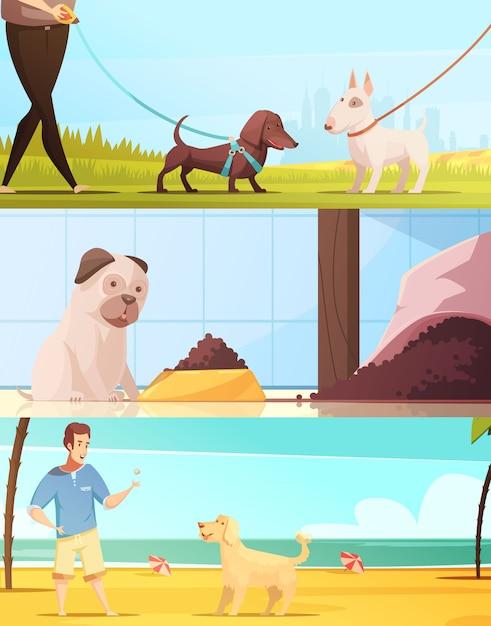 Banners horizontais de cão conjunto com andando símbolos ilustração em vetor isoladas dos desenhos animados Vetor grátis