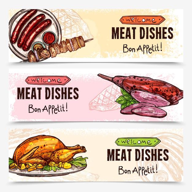Banners horizontais de carne desenhada de mão Vetor grátis