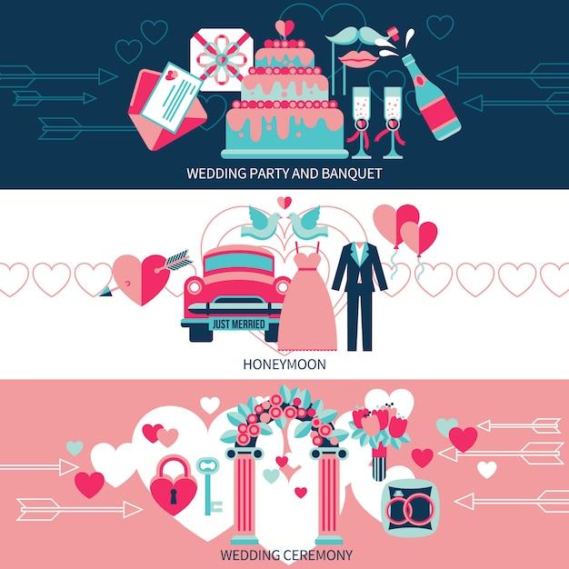 Banners horizontais de casamento Vetor grátis